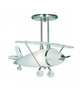 Suspension avion Novelty, en argent satiné et verre