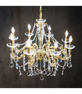 Chandelier classique CONTARINI CRYSTAL Or 24 Carats 8 ampoules