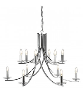 Suspension 12 ampoules Ascona, en chrome et verre