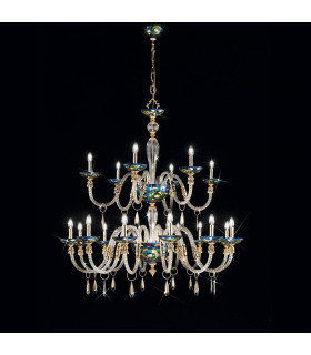 Chandelier classique CONDULMER Or 24 Carats 18 ampoules