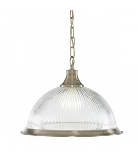 Suspension 1 ampoule  American Diner, en laiton antique et verre