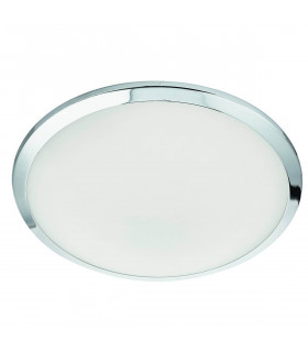 Plafonnier 30cm LED chrome, verre givré
