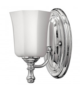 Applique Shelly, chrome poli, verre blanc, LED