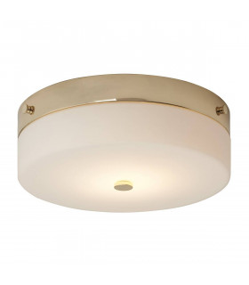 Plafonnier Tamar, 29 cm, finition or poli, verre opale, LED, IP44