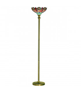 Lampadaire Dragon Fly, en laiton antique et verre tiffany