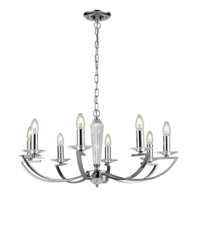 Suspension chromée en cristal Artemis 8 Ampoules