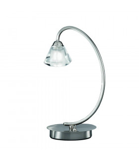 Lampe de table en nickel satinée en cristal Twista 1 Ampoule