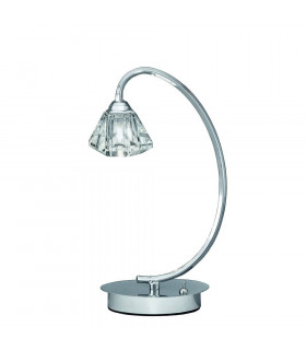 Lampe de table chromée en cristal Twista 1 Ampoule
