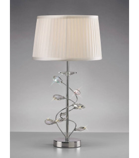 Lampe de Table Willow avec Abat jour blanc 1 Ampoule chrome poli/cristal