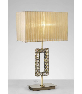 Lampe de Table Florence Rectangle avec Abat jour bronze 1 Ampoule laiton antique/cristal