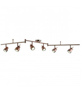 Plafonnier Jupiter, cuivre antique, 6 spots LED