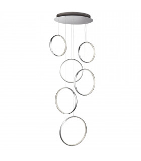Suspension Rings, en chrome et cristal, 6 anneaux