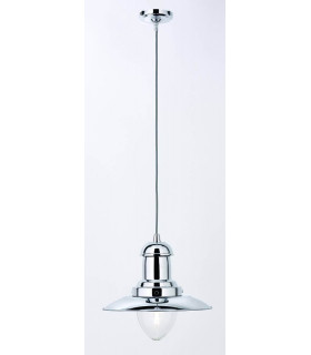 Suspension 1 ampoule Fisherman, en chrome et verre